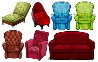Grupo de móveis de cadeira vetor