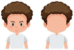 Conjunto de caractere de menino encaracolado vetor