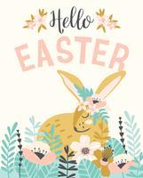 Feliz Páscoa. Modelo de vetor com bunnie de Páscoa para cartão, cartaz, flyer e outros usuários