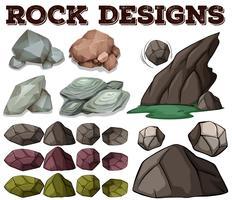 Tipo diferente de desenhos de rock vetor