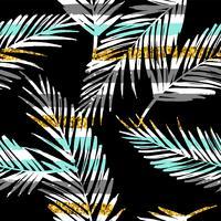 Sem costura padrão exótico com silhuetas de folha de palma. Textura de glitter dourados.