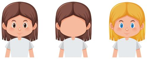 Conjunto de menina com cor de cabelo diferente vetor