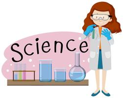 Um jovem cientista em Backgroung branco vetor