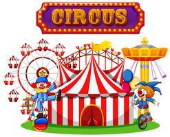 Desempenho de circo e palhaço vetor