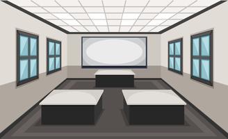 Interior, de, sala aula, cena vetor