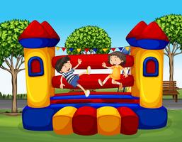 Dois, crianças, pular, borracha, casa vetor