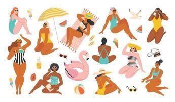 ilustração de verão de mulheres descansando ee frutas e à beira-mar. vetor