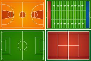 Campos esportivos e quadras vetor