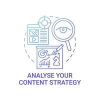 analisar ícone de conceito de estratégia de conteúdo vetor