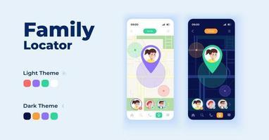 conjunto de modelos de vetor de interface de smartphone para localizador de família
