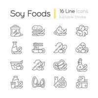 conjunto de ícones lineares de alimentos de soja vetor