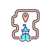 ícone de cor rgb de comércio marítimo internacional vetor