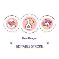 ícone do conceito de perigo de calor vetor