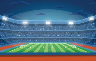 estádio de futebol para campeonato em cenário noturno vetor