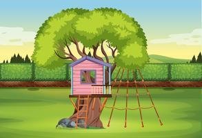 Um playground na casa da árvore vetor
