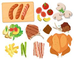 Vários conjuntos de comida de churrasco vetor