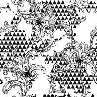 Padrão sem emenda de tecido eclético. Fundo geométrico com ornamento barroco vetor