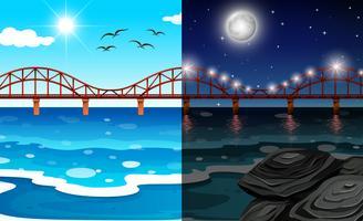 Dia e noite oceano paisagem vetor