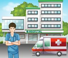 Um médico na cena do hospital vetor