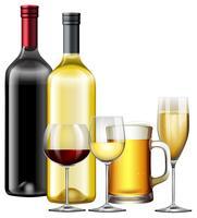 Um conjunto de bebidas alcoólicas vetor
