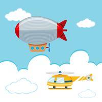 dirigível e helicóptero no céu vetor