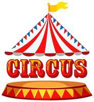 Conceito de tenda de circo com texto vetor