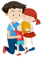 Pai, abraçando, seu, crianças vetor