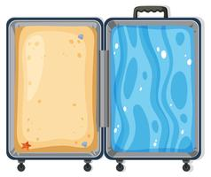Conceito de mala de areia e surf