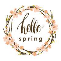 Fundo de primavera de vetor com ramos de flores.