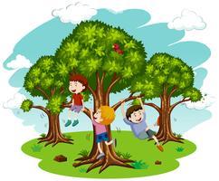 Crianças brincando na natureza vetor