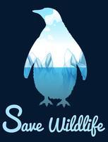 Salvar o tema da vida selvagem com penquin vetor