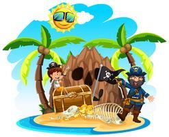 Um pirata com uma garota feliz na ilha