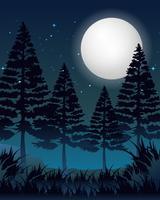 Uma noite de lua cheia vetor