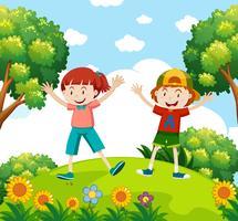 Crianças felizes no jardim vetor