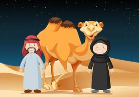 As pessoas viajam no deserto com camelo vetor