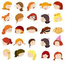 Cabeça menina, com, diferente, expressões