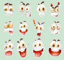 Conjunto de adesivos com expressões faciais no azul vetor