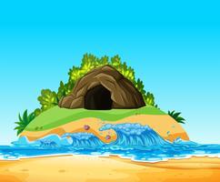 Uma caverna misteriosa na ilha vetor