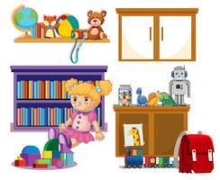 Conjunto de brinquedos de criança vetor