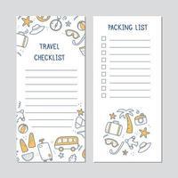 lista de verificação desenhada à mão de viagens de férias de verão vetor