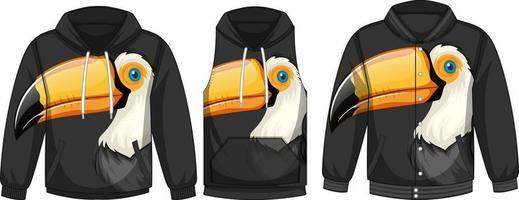conjunto de diferentes jaquetas com modelo de pássaro tucano vetor