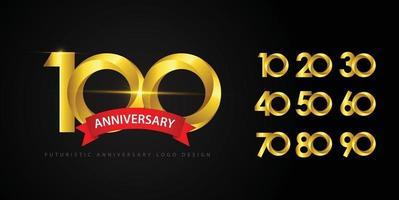definir o conceito de logotipo de design de aniversário. vetor
