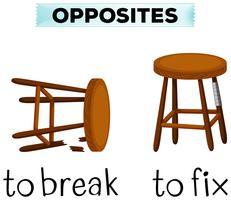 Palavras opostas para quebrar e corrigir vetor