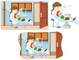 Um menino e uma clínica dentária vetor