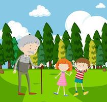 Avô e dois filhos no parque vetor