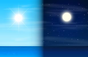 Dia e noite no oceano vetor