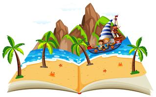 Barco pirata com livro pop up de crianças vetor