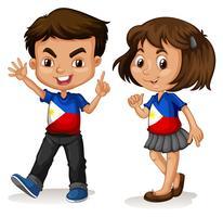 Saudação de menino e menina de Filipinas vetor