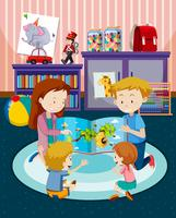 Pais, leitura crianças, um livro vetor