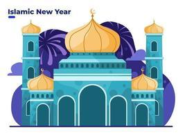 celebração islâmica do muharram de ano novo com construção de mesquita vetor